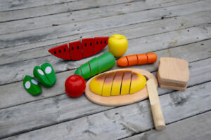 Wooden Fruit, Vegetable, and Bread