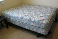 queen sized mattress, boxspring and frame