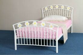 Child's Metal Single Bed - Flower Pattern - £35