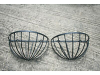 Two Large Black Metal Wall Half Baskets