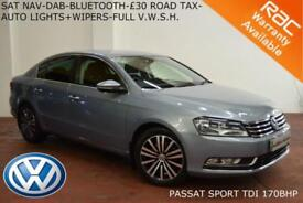 2013 Volkswagen Passat 2.0TDI(170ps)BlueMotion Tech Sport-NAV-£30 TAX-F.V.W.S.H.