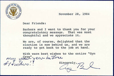 George H W  Bush   Typed Letter Signed 11 28 1984