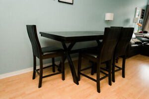 Gently Used SOLID WOOD High Top Dining Table + 4 Chairs Espresso