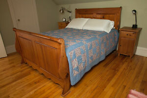 Double Pine Sleigh Bed Frame