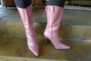 Pink Patent Leather Stietto Boots