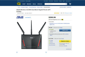 Asus AC2900 RT-AC86U 2.4/5GHz MU-MIMO USB 3.1 Wireless Router