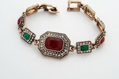 Elegant Ancient_Antique_Gold_Plated Jewelry Simulated Gemstones Bracelet Bangle