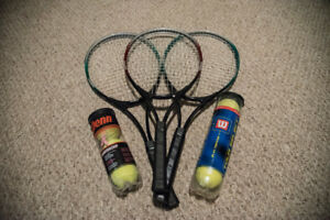 3 Cooper Tennis Racquets with 7 Tennis Balls