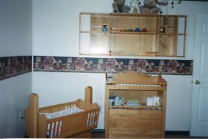 Solid Oak Wooden Baby Crib, Change Table/Dresser and Shelf