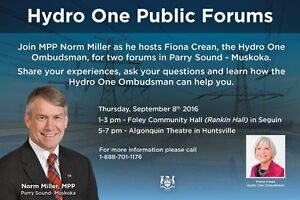 PUBLIC FORUMS WILL BE HELD SEPT 8 TO DISCUSS HYDRO ONE'S SERVICE