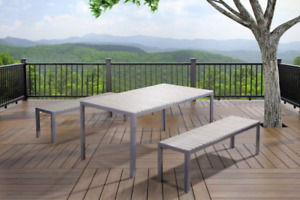 Outdoor Aluminum Poly Wood Dining Set Floor Model Clearance
