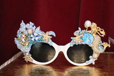 Zibellini Baroque Nautical Mermaid Coral Reef  Embellished Sunglasses Sunglasses Color Coral