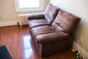 Peyton Microsuede Loveseat with a small coffee table
