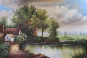 "Large Oil Painting on Canvas Cottage, Hut by Pond 36""x24"""