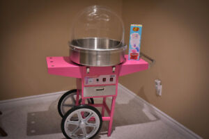 Pink Cotton Candy Machine with Cart