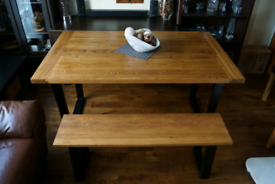 New Solid Oak Dining Kichen Table and Bench with Industrial Metal Legs