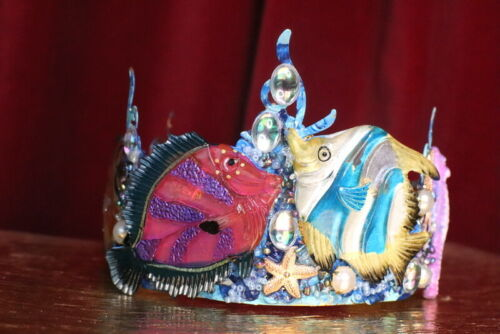 ZIBELLINI Ar4t Jewelry Tile Effect 3d Fish Nautical Marine Headband Crown