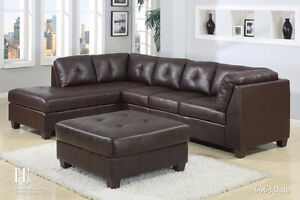 BRAND NEW LEATHER SECTIONAL ON SALE! BLACK OR BROWN IN STOCK!!