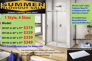 Contractor favourite Frameless Glass Shower Door with Stone Tray