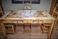 Rustic Collection Dining Table, Chairs and Hutch