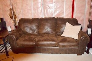 Brown micro fibre leather coach