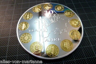 Gedenkprägung: 10 Jahre Euro. 110gr.-versilbert mit Goldauflage-D=70mm -PP-