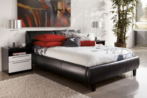 SINGLE  -DOUBLE OR QUEEN SIZE BONDED LEATHER BED WITH STORAGE