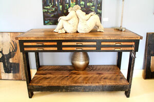 RUSTIC CONSOLE TABLE, ENTERTAINMENT TABLE, KITCHEN ISLAND