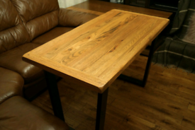 New Small Solid Oak Dining Kichen Table with Industrial Metal Legs