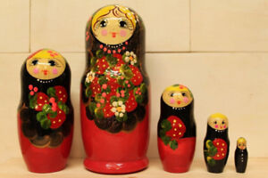 Babushka nesting dolls with strawberry set of 5