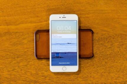 iPhone 6 Plus 128GB Silver - Perfect Condition - Leather Case