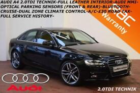 2014 Audi A4 2.0TDIe(136ps) Technik-LEATHER-SAT NAV-B.TOOTH-FULL SERVICE HISTORY