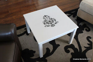 small low coffee table refinished in grey/black