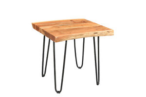 Driftwood Live Edge Acacia Side Table Hairpin Legs Industrial
