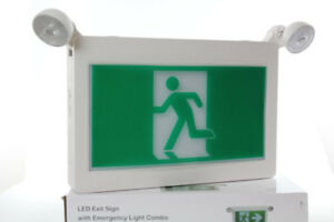 Running Man Exit Sign with Emergency Lights, $45.00