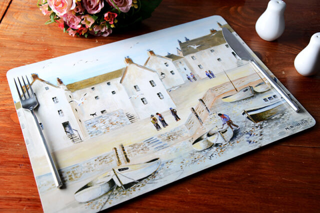 Set of 4 CORNISH HARBOUR Extra Large PLACEMATS Table Mats Cornwall CREATIVE TOPS