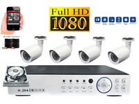 Full HD 1080p CCTV Security Camera Kit. 4 x FHD Cameras , FHD DVR with Hard Drive, Cables, Full Kit