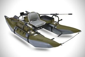 2 Inflatable Personal Pontoon Fishing Boats & 1 Motor