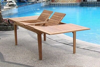 """9 PC TEAK OUTDOOR DINING SET 122"""" DOUBLE EXTN RECT TABLE, 8 CARA ARMLESS CHAIRS"""