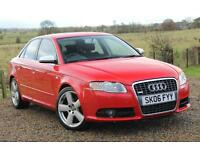 2006/06 Audi A4 2.0TDI S Line, 131K with FSH, Red, 4dr