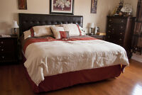 KING SIZE BED WITH MATTRESS, BOX SPRING AND LEATHER HEADBOARD
