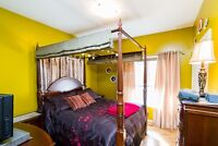 4 poster bed with dresser, lingerie chest, 2 night tables