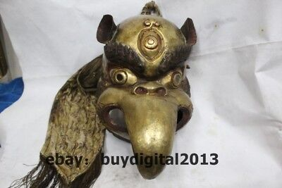 "14"" Old Tibetan Buddhism Temple Bronze 24K Gold Bird eagle Head Mask Statue"