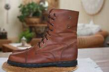 GENUINE SOFT TAN VINTAGE LEATHER LACE UP HIKING ANKLE BOOTS 40 /9 Alberton Port Adelaide Area Preview