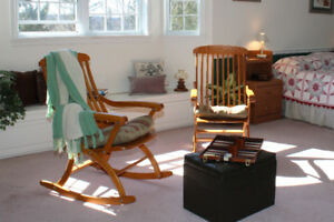 Hand Crafted Solid Oak Fold Up Rocking Chairs