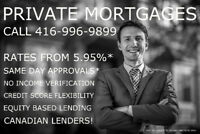PRIVATE MORTGAGE and 2ND MORTGAGE - FAST AND EASY 416-996-9899