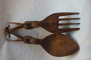 Vintage carved wood serving set: spoon and fork