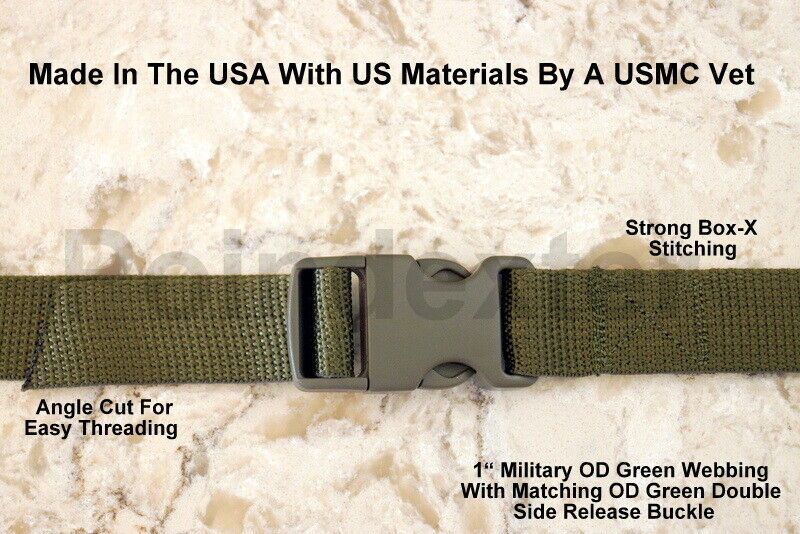 1 Inch, Military OD Green Webbing & Buckle, Your Length Lash