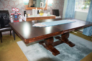 """Large (42""""x102"""") Solid Wood Dining Room Table with 2 Extensions"""