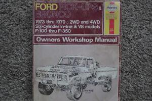 1973 THRU 1979 FORD PICKUP AND BRONCO MANUAL HAYNES